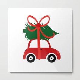 Christmas tree and  truck shirt Metal Print