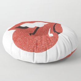 Hand Drawn Tongue and Lip on White Background Floor Pillow