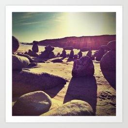 Stones on Perranuthnoe Beach Art Print