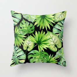 tropical leaves on black Throw Pillow