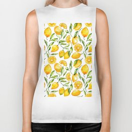 lemon watercolor print Biker Tank