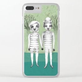gymnast couple in the forest Clear iPhone Case