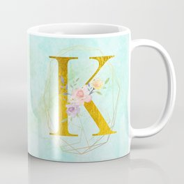 Gold Foil Alphabet Letter K Initials Monogram Frame with a Gold Geometric Wreath Coffee Mug