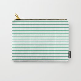 Horizontal Lines (Mint/White) Carry-All Pouch