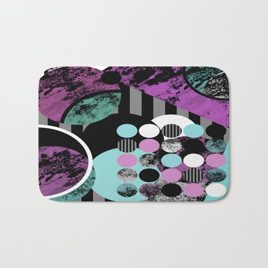 Bits N Pieces II - Abstract, geometric, textured, stripes, cyan, blue, pink, black, artwork Bath Mat