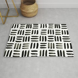 Brush and Ink Mudcloth Pattern Rug