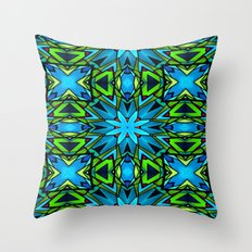 Blue and Green Stained Glass Throw Pillow