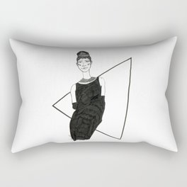 Girl in a black dress Rectangular Pillow