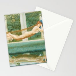 Beauty in the Garden Reflection Pool, Sara, belle d'indolence female portrait painting by Henry James Holiday Stationery Cards