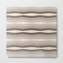Mosaic Wavy Stripes in Cream, Brown and Gray Metal Print