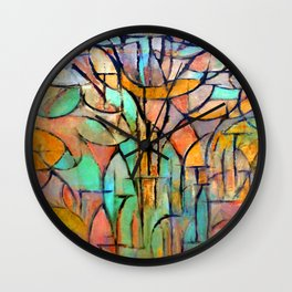 Piet Mondrian Trees Wall Clock