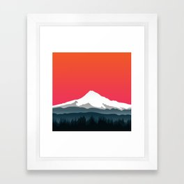 Mount Hood Winter Forest - Sunset Framed Art Print