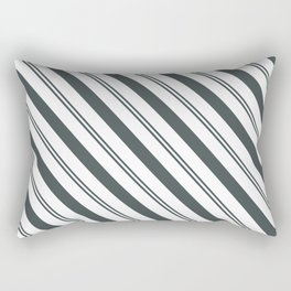 PPG Night Watch Pewter Green  and Dark Green Stripes Angled Lines Rectangular Pillow