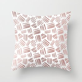 Elegant faux rose gold modern geometric stripes Throw Pillow