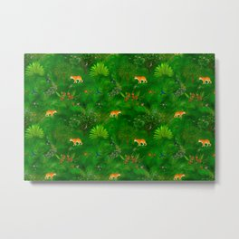 Tropical paradise ,tigers, mountain bluebird,butterflies pattern  Metal Print