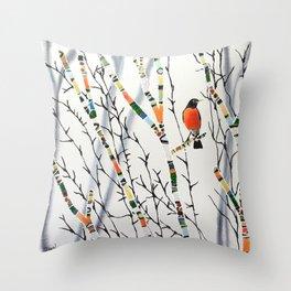 Songbird Winter Forest Throw Pillow