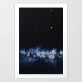 Contrail moon on a night sky Art Print