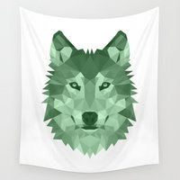 bad wolf Wall Tapestries featuring Wolf by Carma Zoe