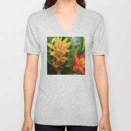 Exotic Red and Yellow Tropical Hawaiian Flowers Unisex V-Neck