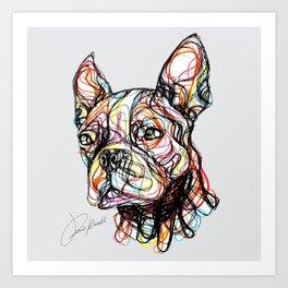 French Bulldog line style - bulldog francese - bouledogue français - bulldog francés Art Print