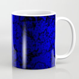 Vibrant blue abstract floral fantasy on black Coffee Mug