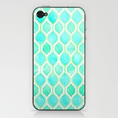 Watercolor Pattern in Aqua, Lime & Mint on White iPhone & iPod Skin