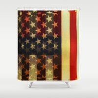 american flag Shower Curtains featuring American Flag by Adam Reynolds