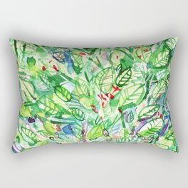abstract watercolor green leaves Rectangular Pillow