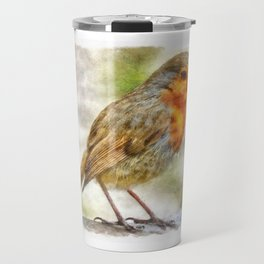 Christmas Robin Winter Watercolor Travel Mug