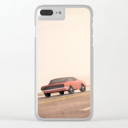 Fast muscle car, speeding through the desert Clear iPhone Case