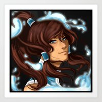 the legend of korra Art Prints featuring Korra by BubbleJuiceBox