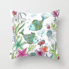 2 fishes Throw Pillow