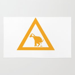 Caution Pooping Dog Rug