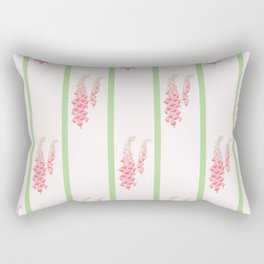 Stripes and Foxglove Pink and Green Repeat Pattern Rectangular Pillow