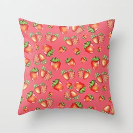 Strawberies pink pattern Throw Pillow