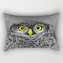 Fluffy baby owl staring eyes Rectangular Pillow