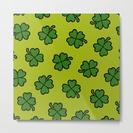 Lucky Four Leaf Clover Pattern Metal Print
