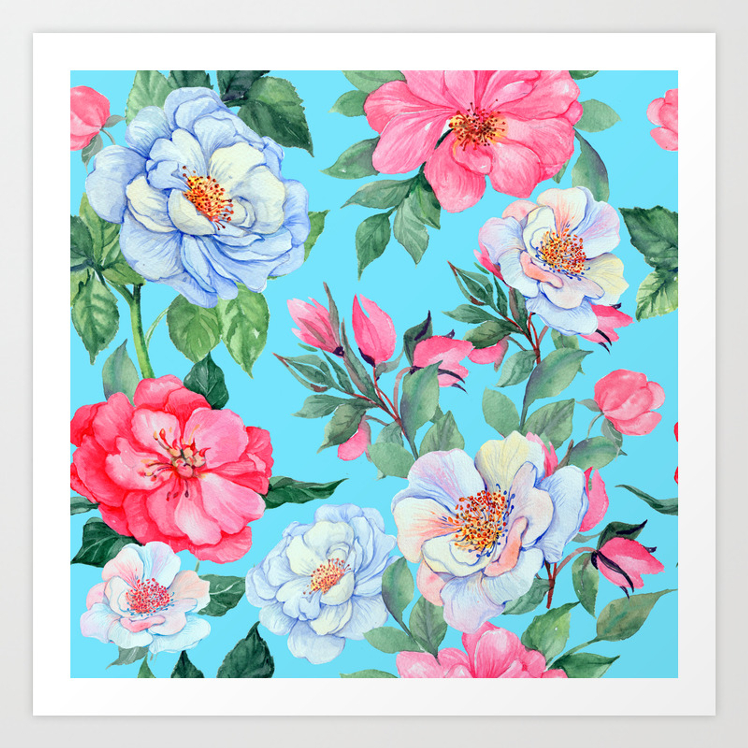 Pink And Blue Floral Print On Aqua Background Art Print By Dec02