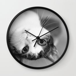 Upside down cat Wall Clock