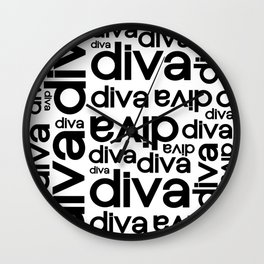 Diva Repeated Typography Text Design Wall Clock