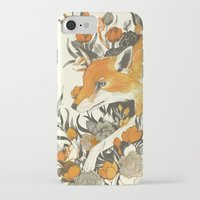 channel iPhone & iPod Cases featuring fox in foliage by Teagan White