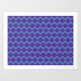 Purple Blue Moroccan Tile Pattern Art Print