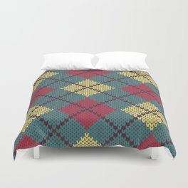Faux Retro Argyle Knit Duvet Cover
