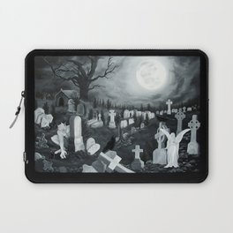 At night on the cemetery Angel with Devil Laptop Sleeve