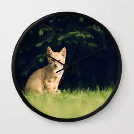 One Eyed Cat Wall Clock