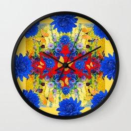 YELLOW GARDEN BLUE  FLOWERS YELLOW BUTTERFLIES PATTERN ART Wall Clock