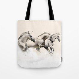 horses prancing in the clouds Tote Bag
