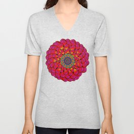 Dahlia Flower Endless Eye Abstract Unisex V-Neck