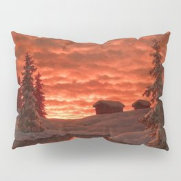 Classical Masterpiece 'Sunset in Winter' by Ivan Fedorovich Choultsé Pillow Sham