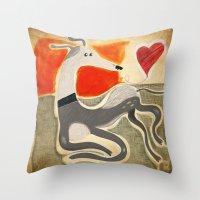 greyhound Throw Pillows featuring Greyhound by elgaga